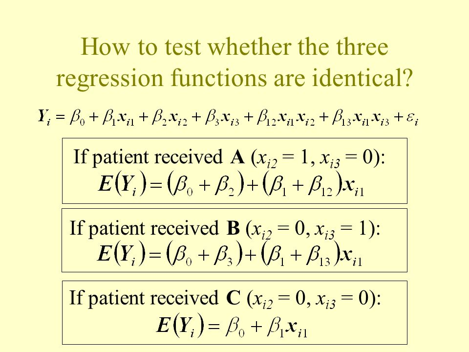 How to test whether the three regression functions are identical