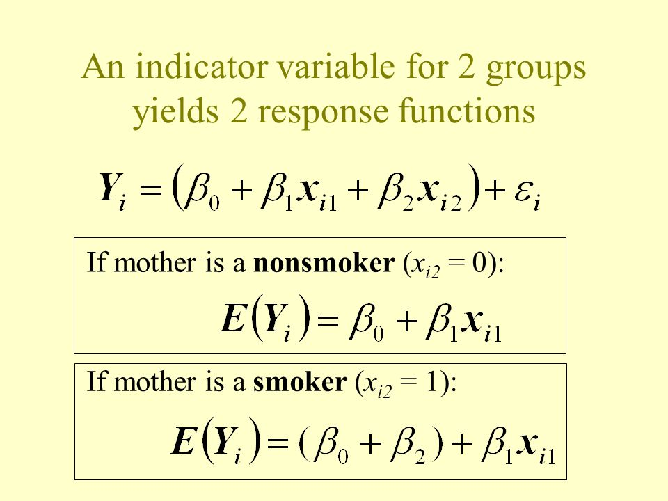 An indicator variable for 2 groups yields 2 response functions