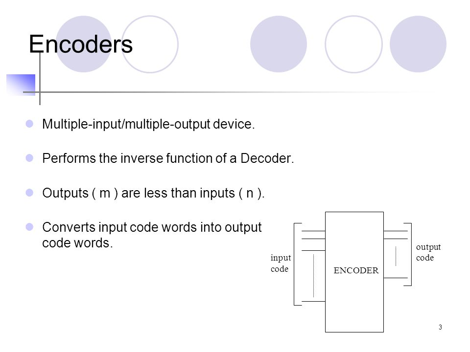 Encoders Multiple-input/multiple-output device.