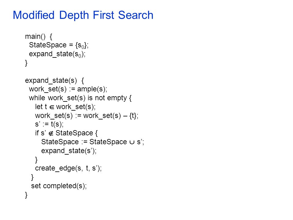 Modified Depth First Search