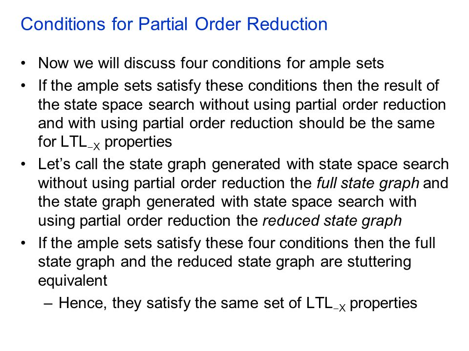 Conditions for Partial Order Reduction