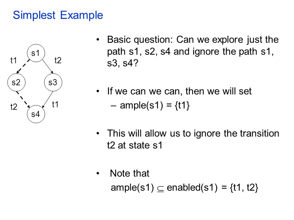 Simplest Example Basic question: Can we explore just the path s1, s2, s4 and ignore the path s1, s3, s4