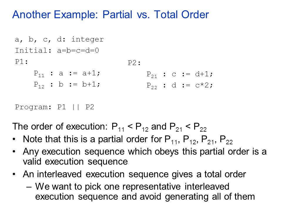 Another Example: Partial vs. Total Order