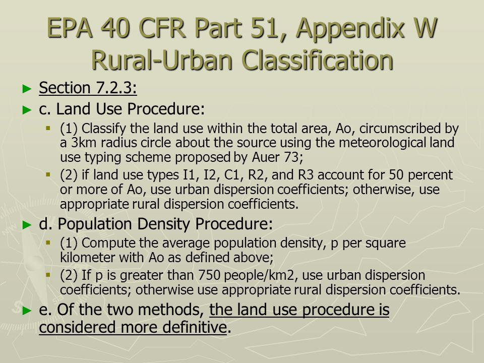 EPA 40 CFR Part 51, Appendix W Rural-Urban Classification