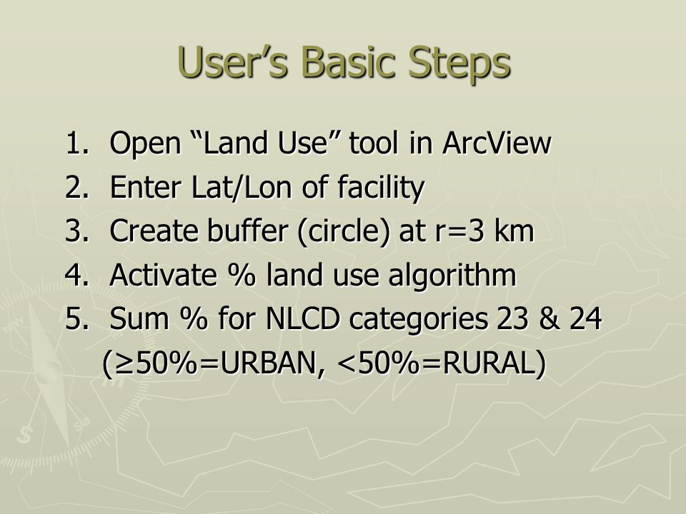 User's Basic Steps 1. Open Land Use tool in ArcView