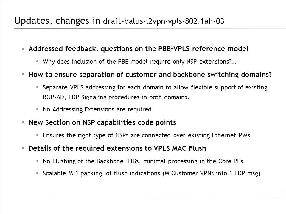 Updates, changes in draft-balus-l2vpn-vpls-802.1ah-03
