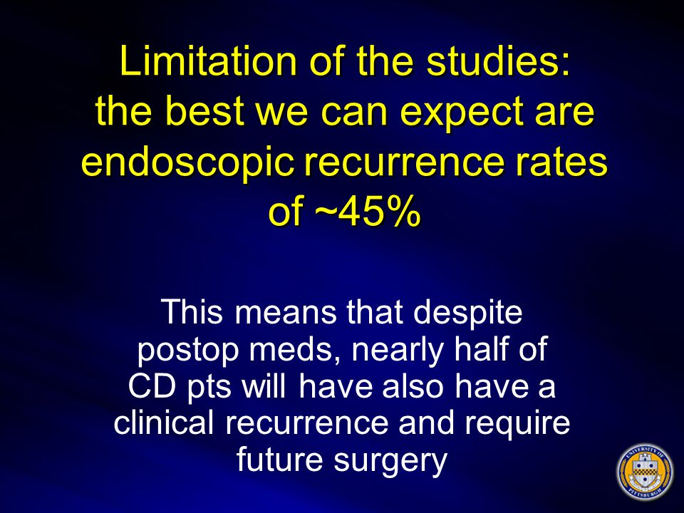Limitation of the studies: the best we can expect are endoscopic recurrence rates of ~45%