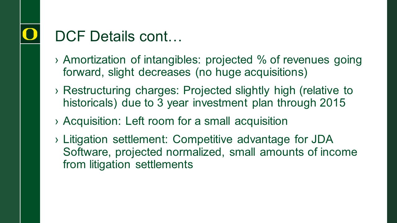 DCF Details cont… Amortization of intangibles: projected % of revenues going forward, slight decreases (no huge acquisitions)