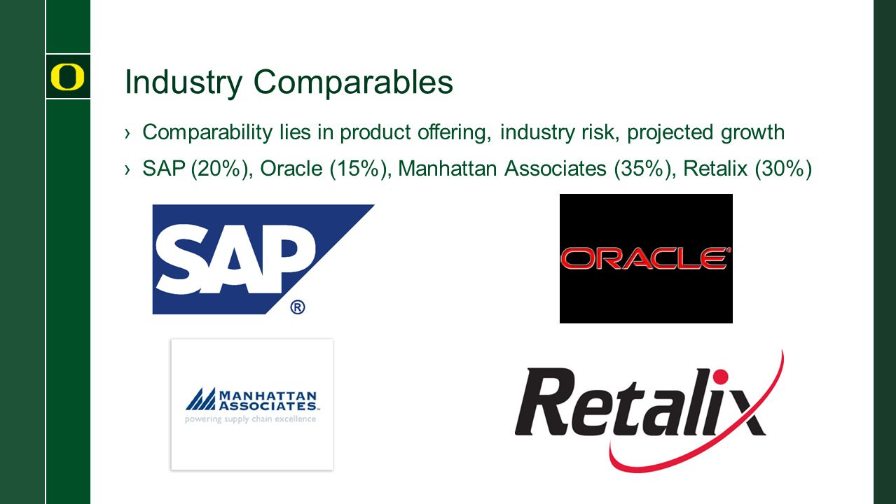 Industry Comparables Comparability lies in product offering, industry risk, projected growth.