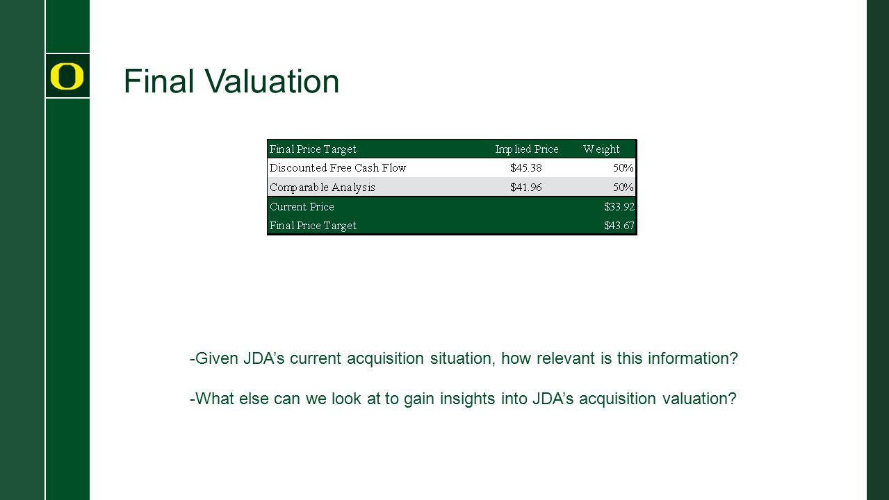 Final Valuation -Given JDA's current acquisition situation, how relevant is this information