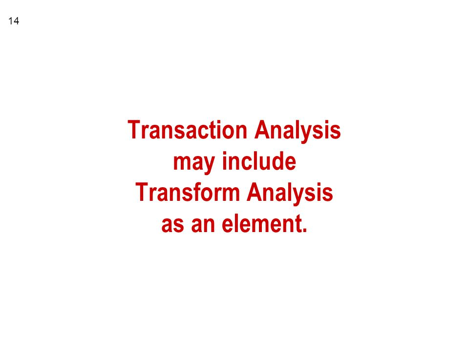 Transaction Analysis may include Transform Analysis as an element.
