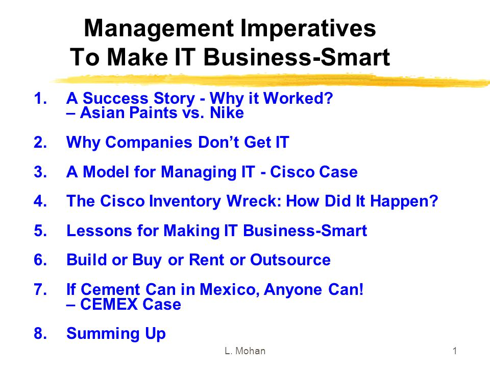 Management Imperatives To Make IT Business-Smart