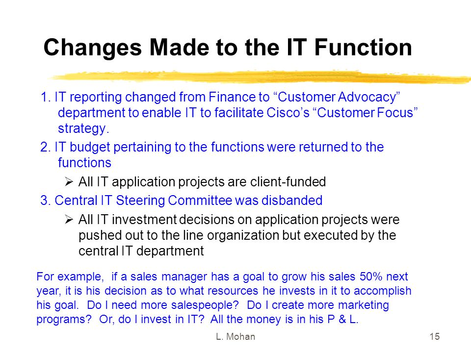 Changes Made to the IT Function