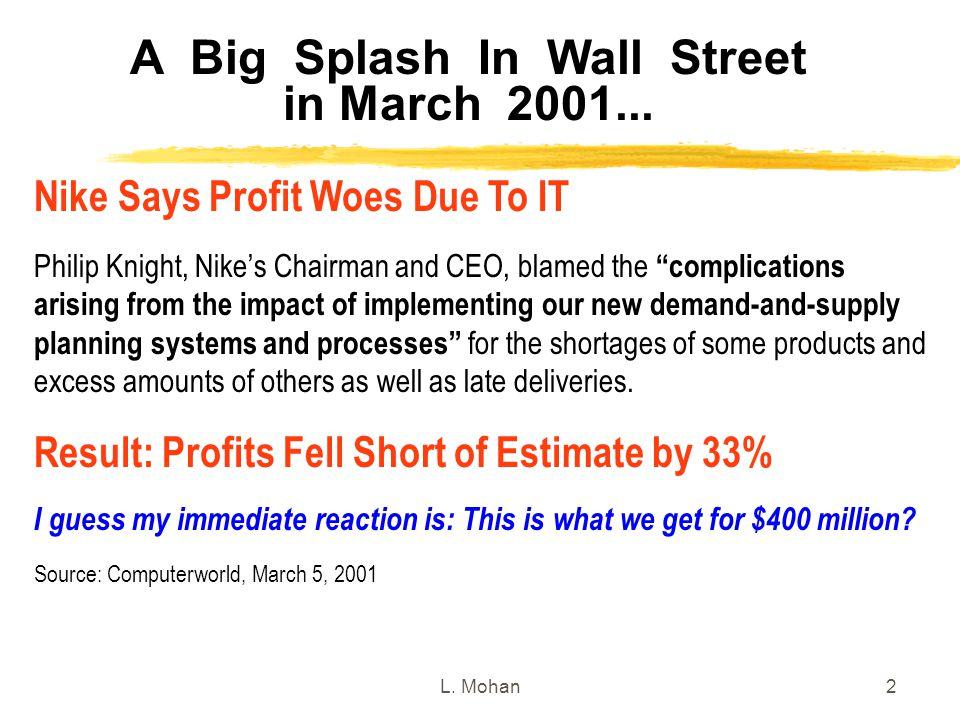 A Big Splash In Wall Street in March 2001...