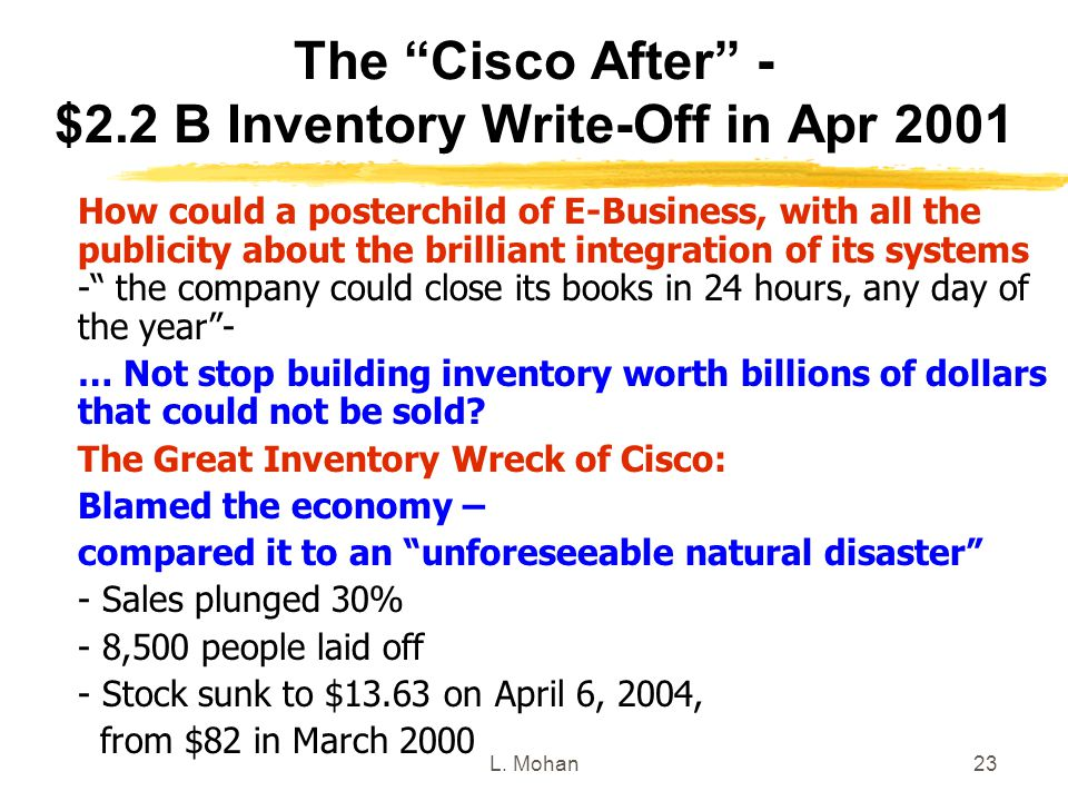 The Cisco After - $2.2 B Inventory Write-Off in Apr 2001