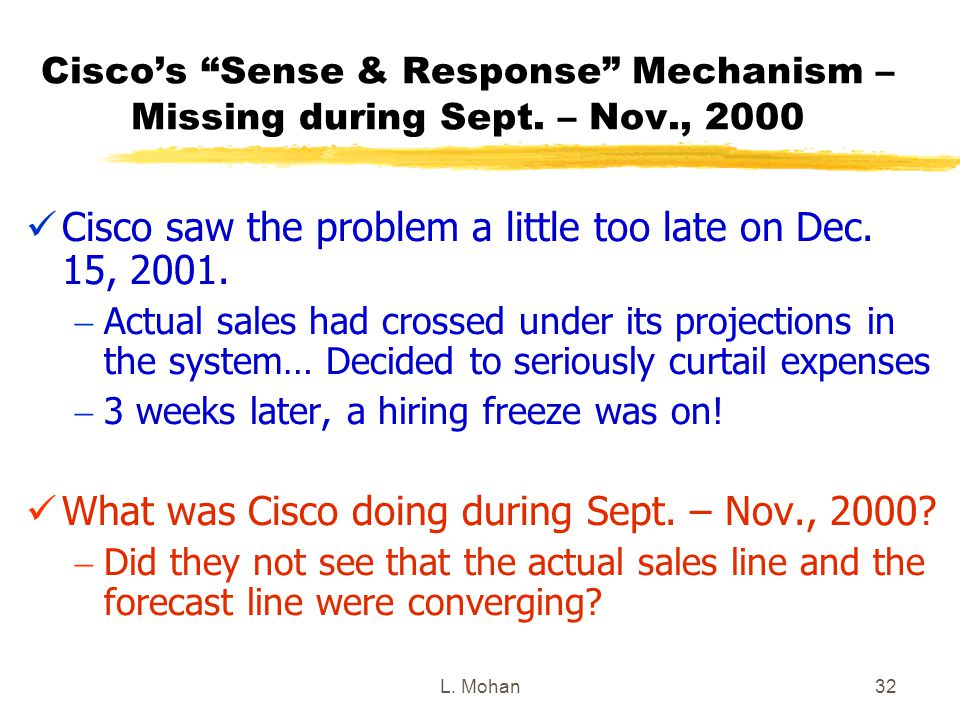 Cisco saw the problem a little too late on Dec. 15, 2001.