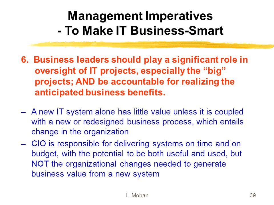 Management Imperatives - To Make IT Business-Smart