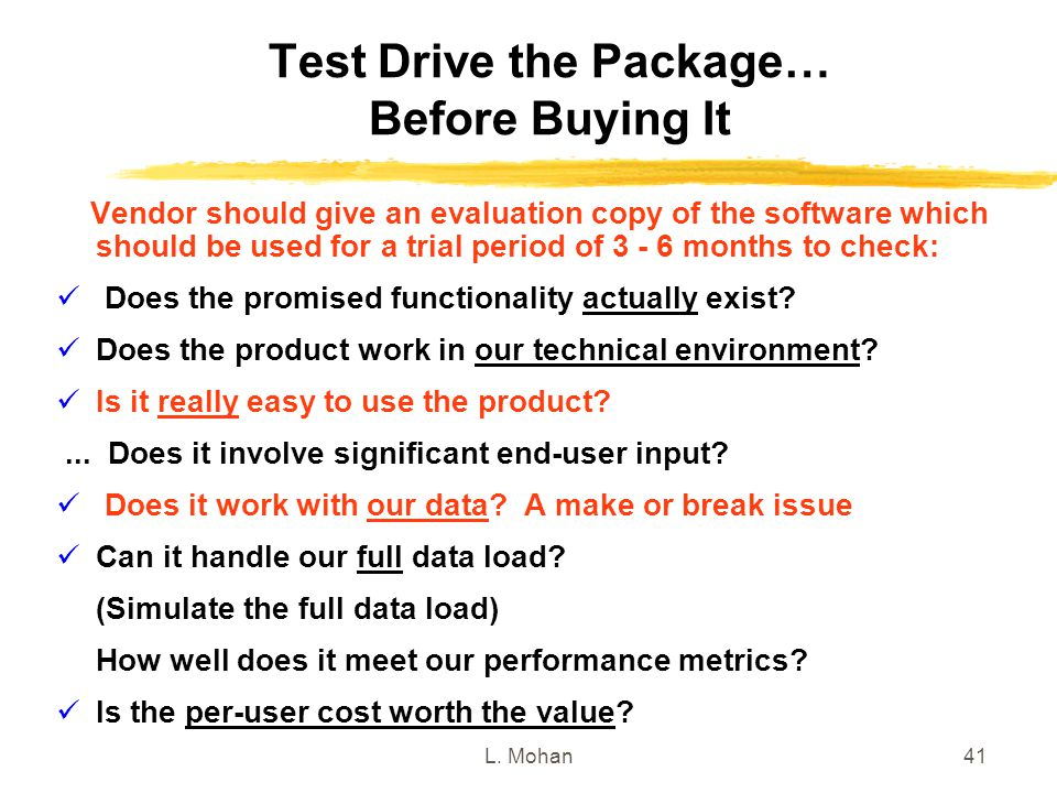 Test Drive the Package… Before Buying It