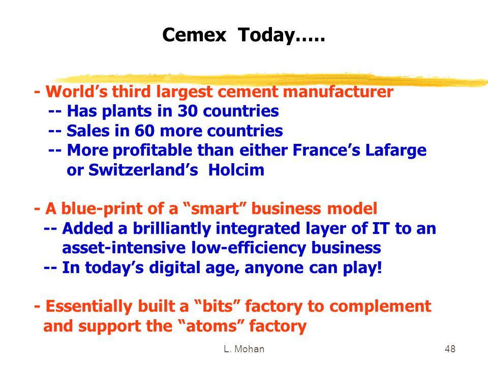 Cemex Today….. - World's third largest cement manufacturer