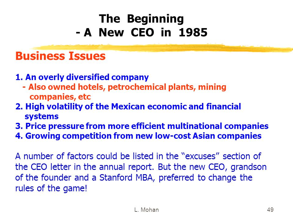 The Beginning - A New CEO in 1985