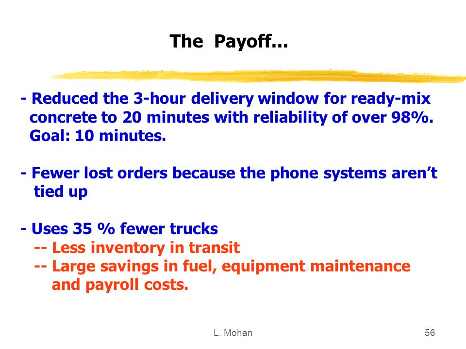 The Payoff... - Reduced the 3-hour delivery window for ready-mix