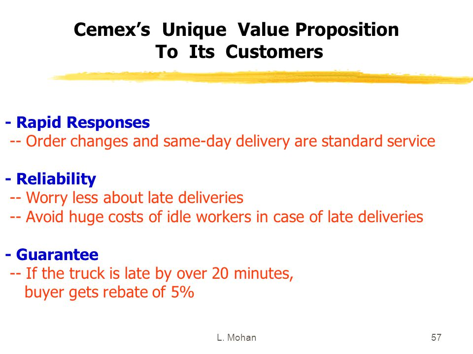 Cemex's Unique Value Proposition To Its Customers