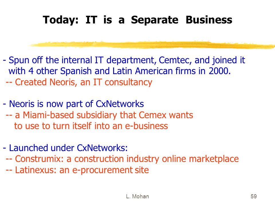 Today: IT is a Separate Business