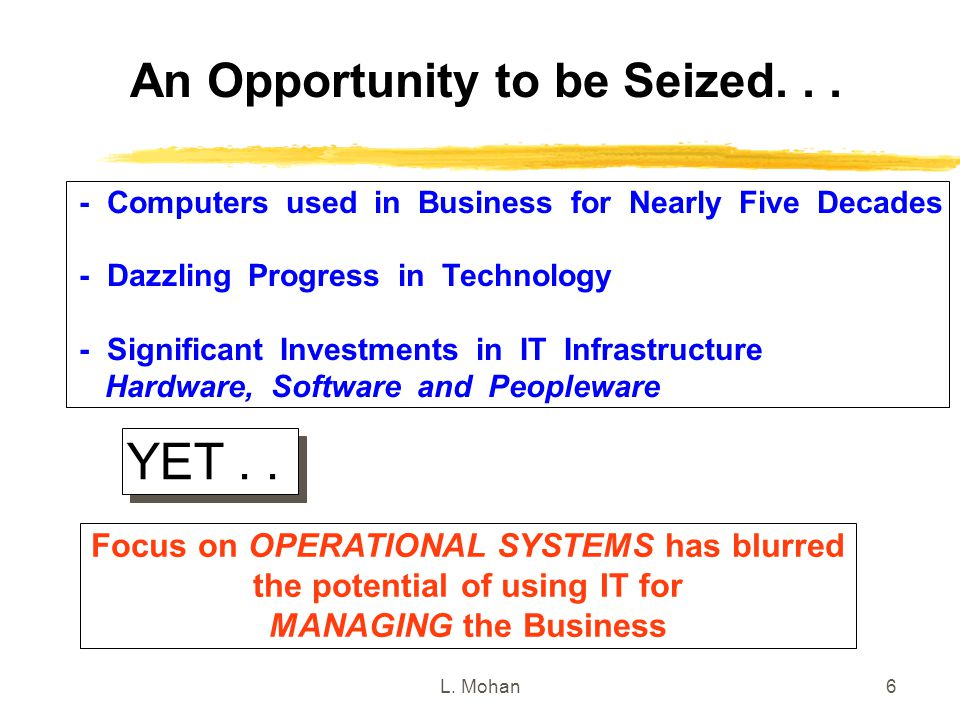 YET . . An Opportunity to be Seized. . .