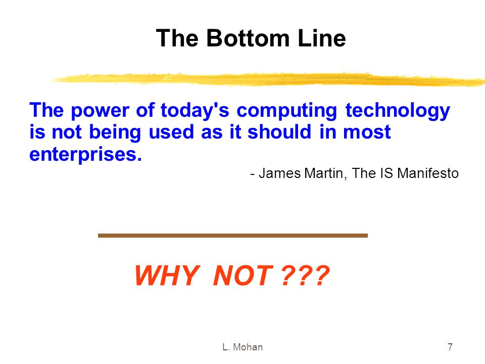 The Bottom Line The power of today s computing technology is not being used as it should in most enterprises.