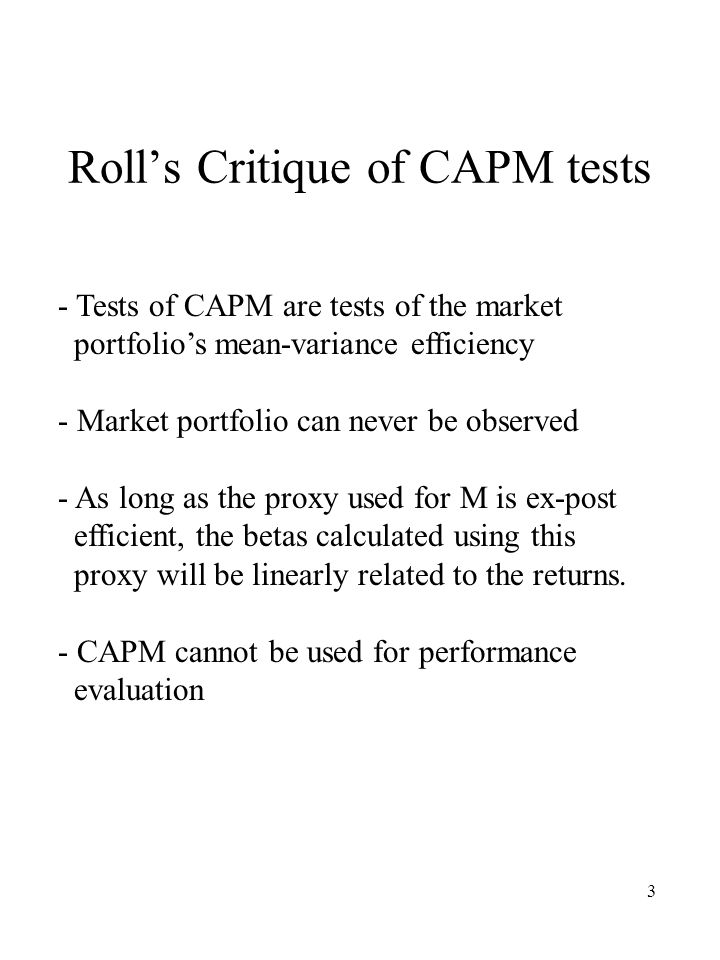 Roll's Critique of CAPM tests