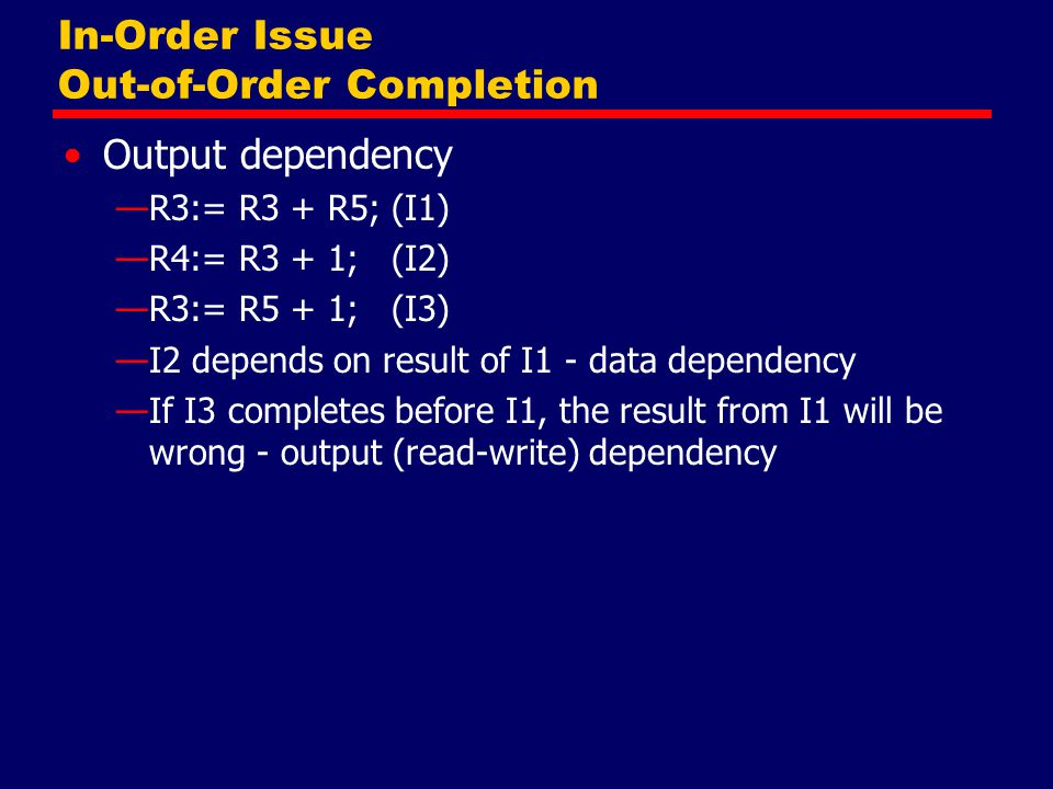 In-Order Issue Out-of-Order Completion