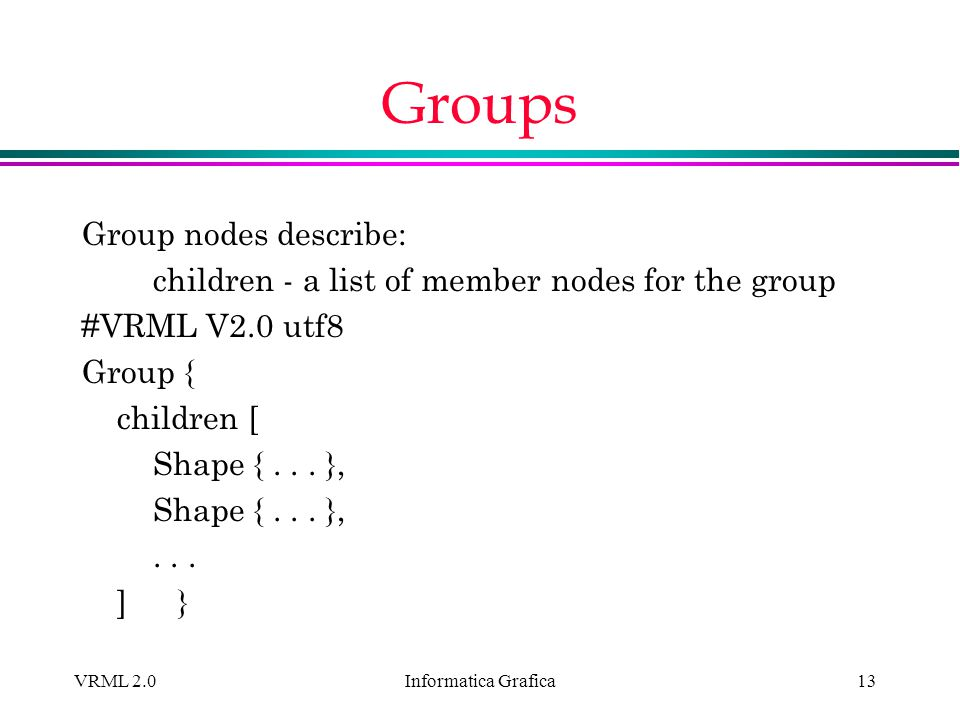 Groups Group nodes describe: