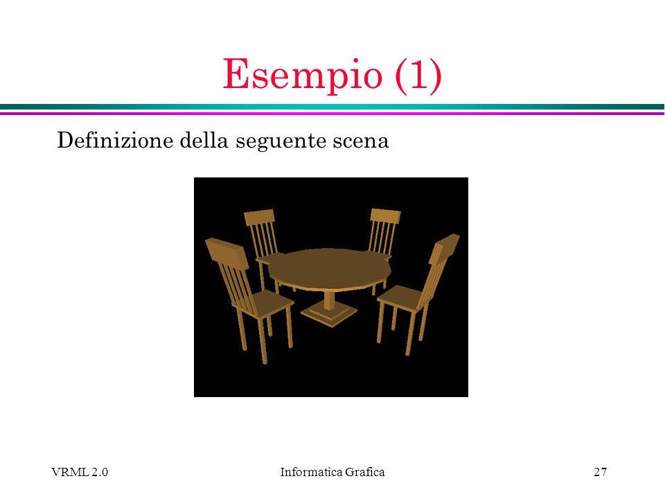 Esempio (1) Definizione della seguente scena VRML 2.0