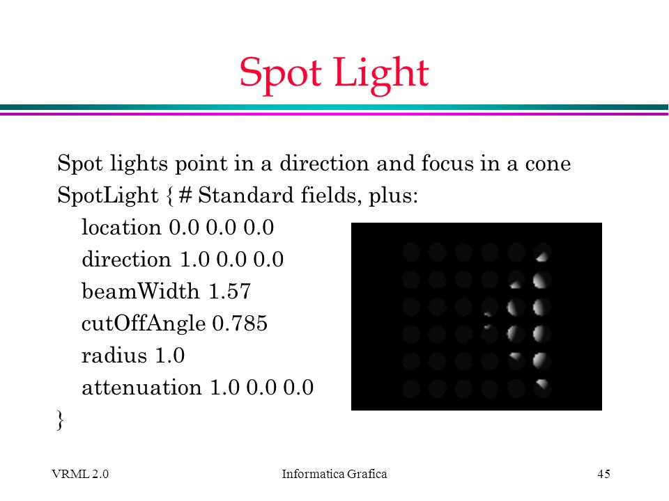Spot Light Spot lights point in a direction and focus in a cone