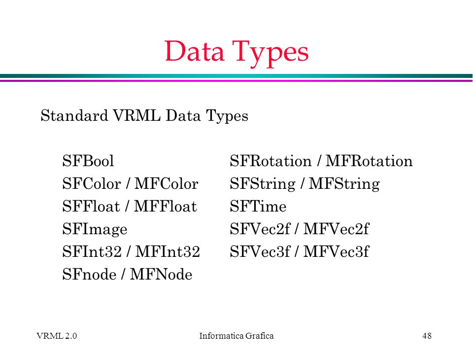 Data Types Standard VRML Data Types SFBool SFRotation / MFRotation