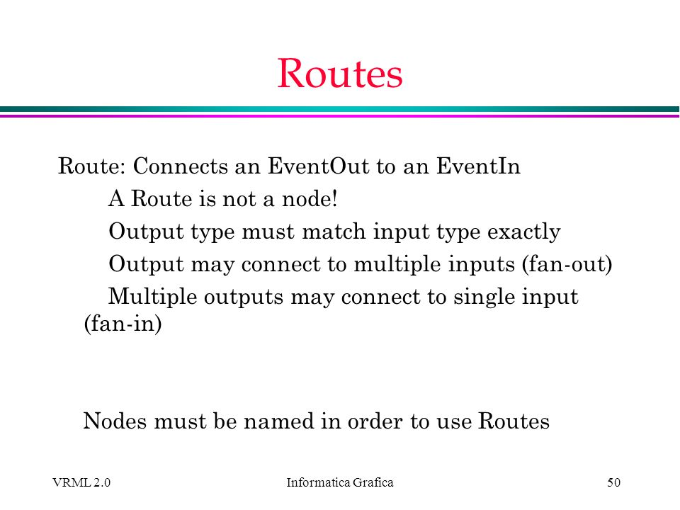 Routes Route: Connects an EventOut to an EventIn