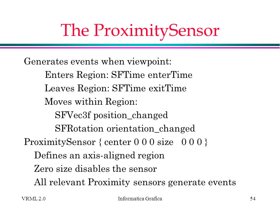 The ProximitySensor Generates events when viewpoint: