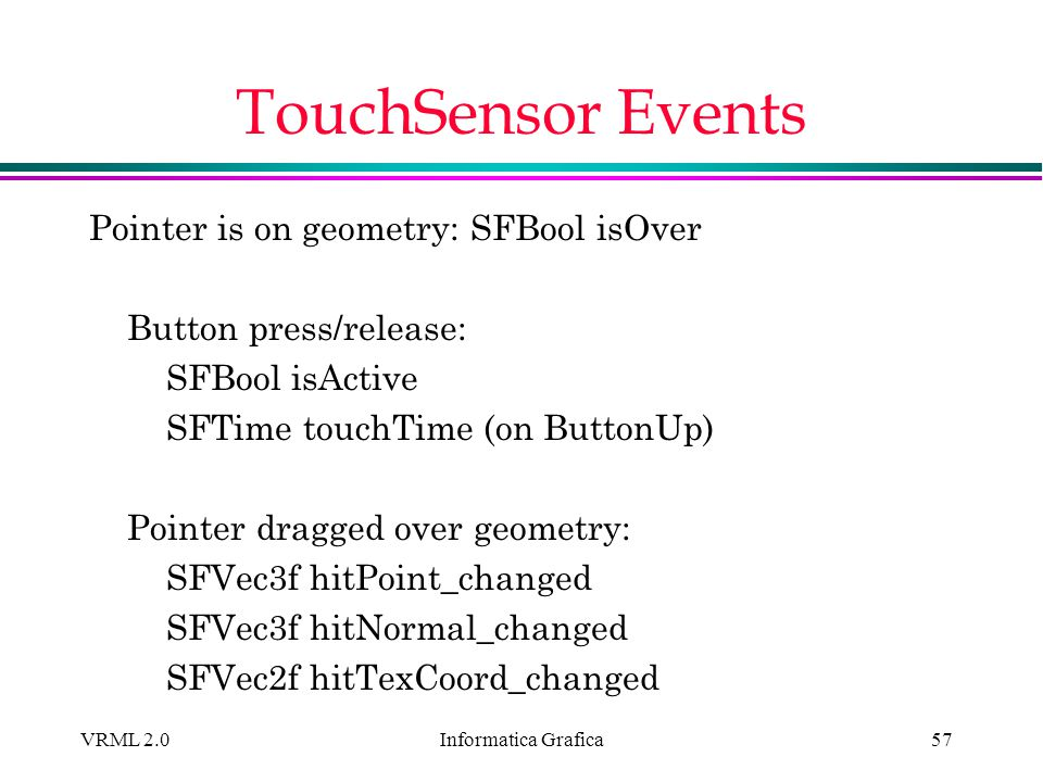 TouchSensor Events Pointer is on geometry: SFBool isOver