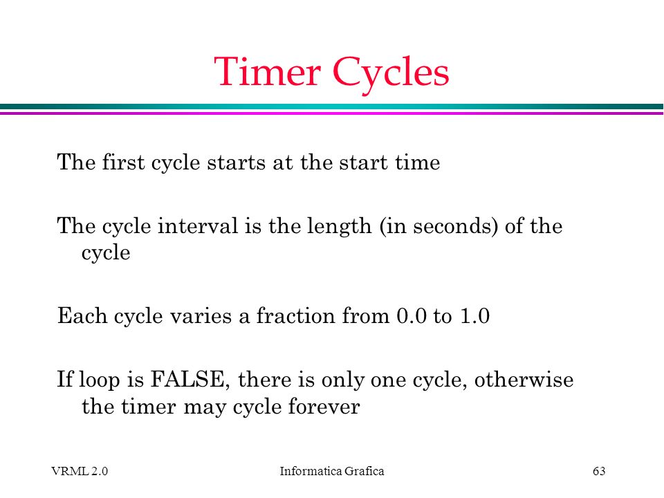 Timer Cycles The first cycle starts at the start time