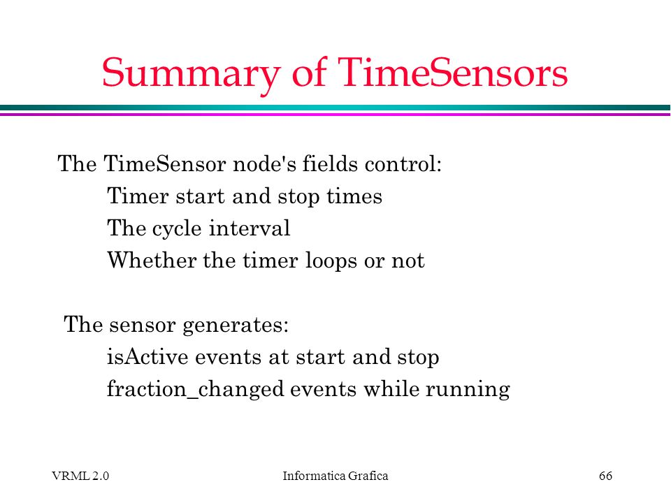 Summary of TimeSensors