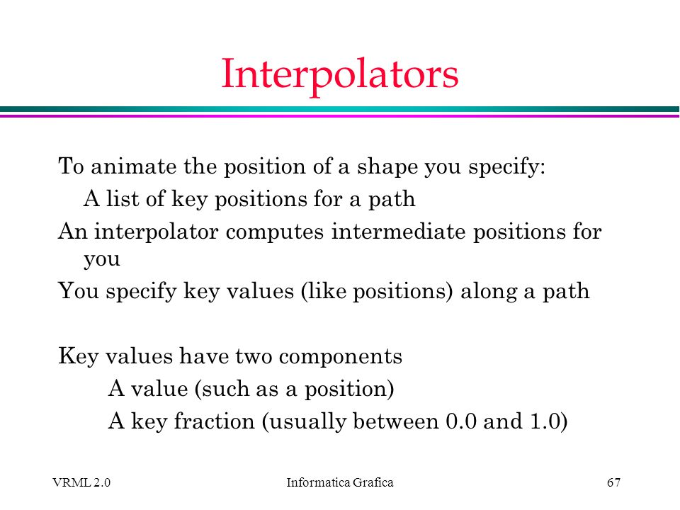 Interpolators To animate the position of a shape you specify:
