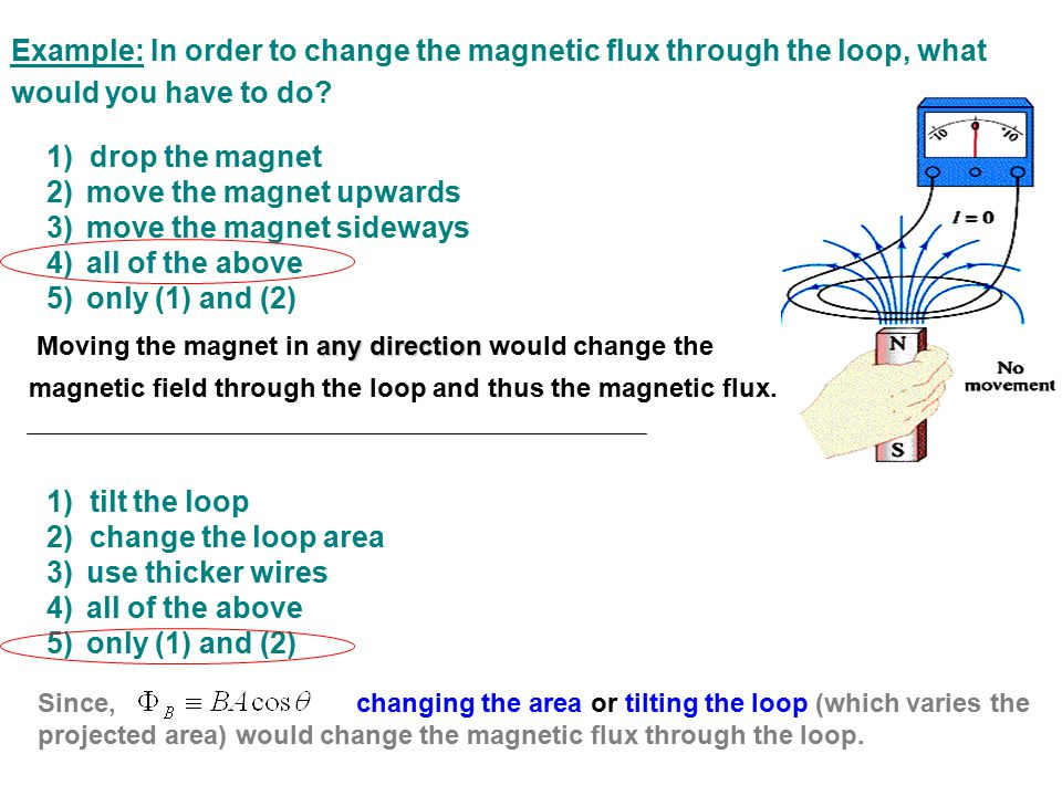 Example: In order to change the magnetic flux through the loop, what