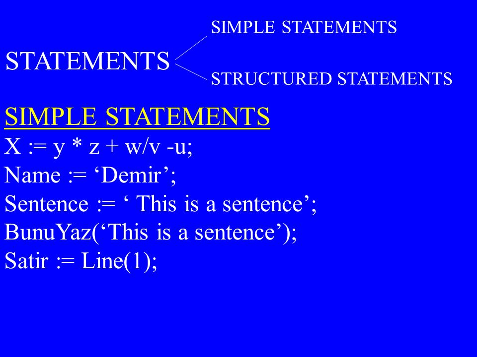 STATEMENTS SIMPLE STATEMENTS X := y * z + w/v -u; Name := 'Demir';