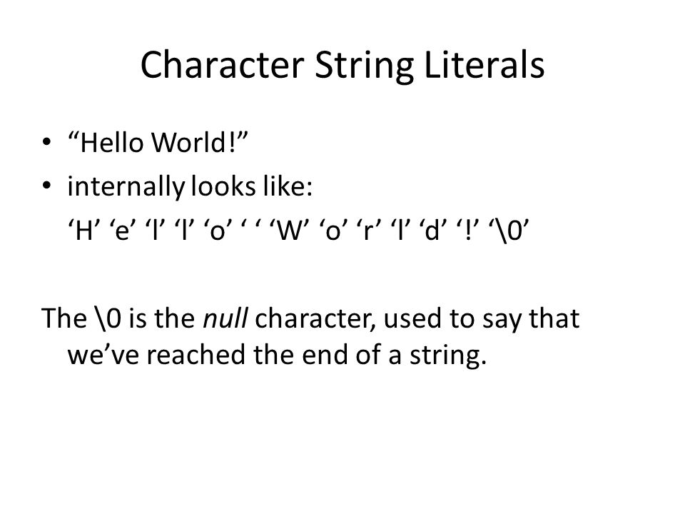 Character String Literals