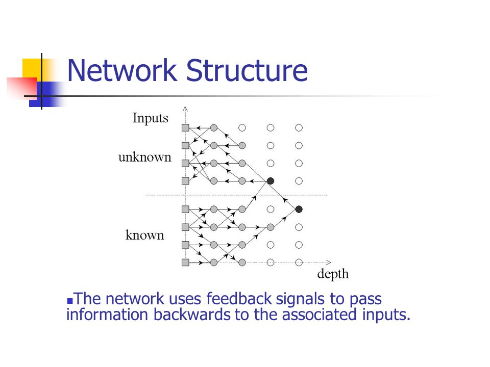 Network Structure The network uses feedback signals to pass information backwards to the associated inputs.