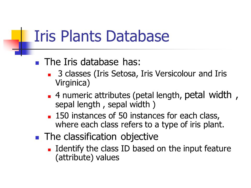 Iris Plants Database The Iris database has: