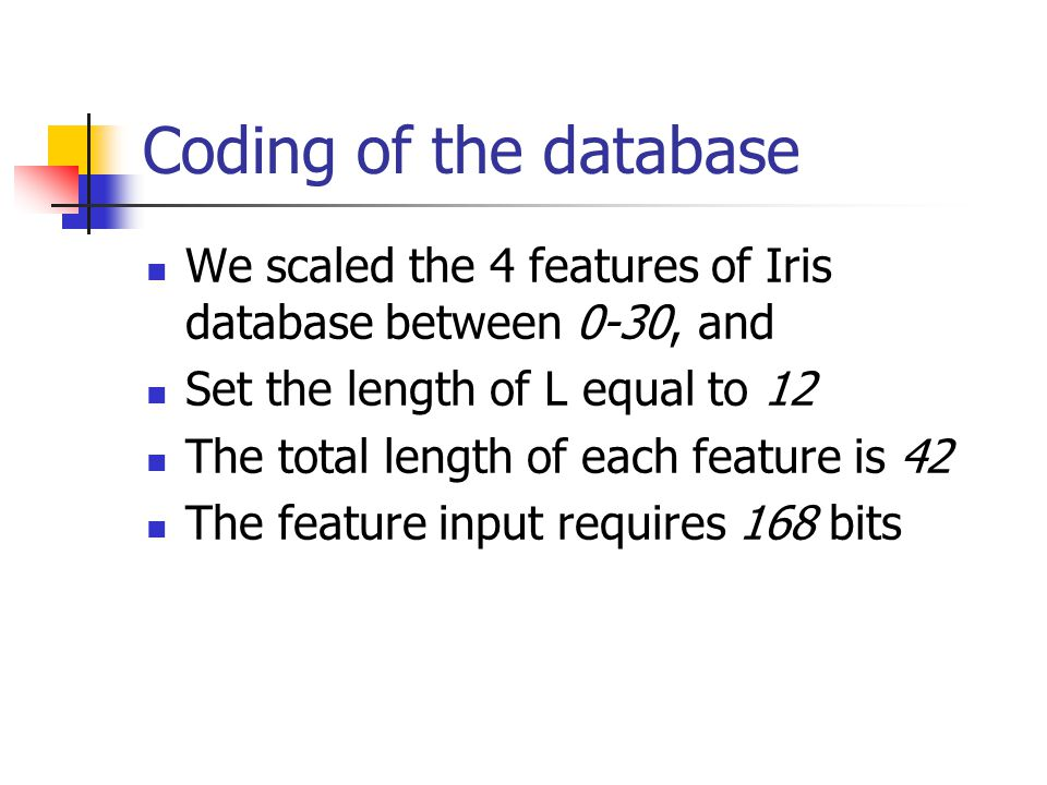 Coding of the database We scaled the 4 features of Iris database between 0-30, and. Set the length of L equal to 12.