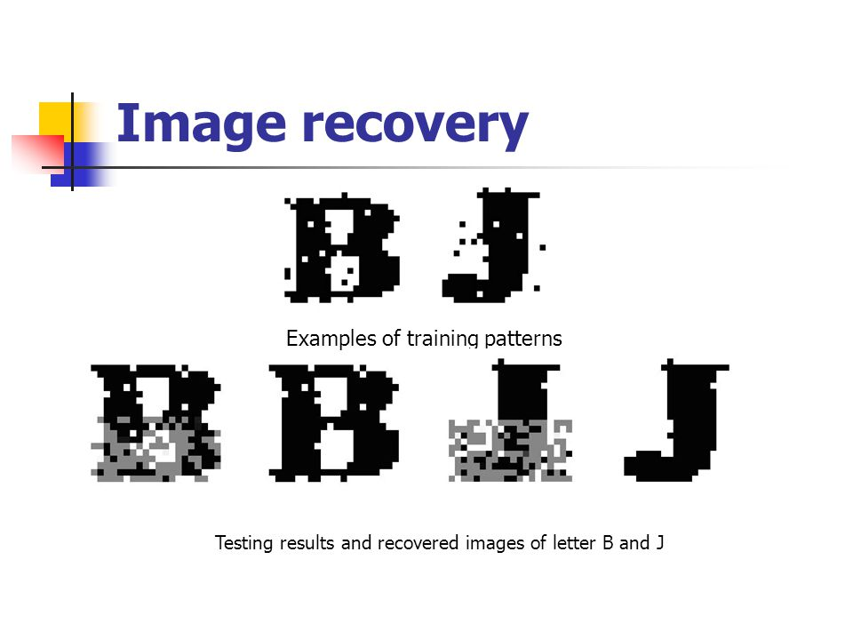 Image recovery Examples of training patterns