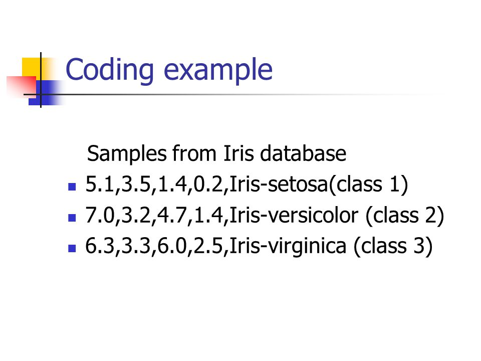 Coding example Samples from Iris database