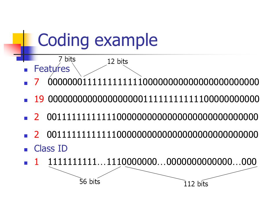 Coding example Features 7 000000011111111111100000000000000000000000